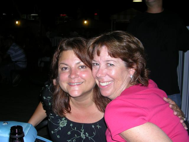 Lisa and Colleen at the beach bar