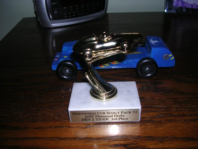 Pinewood Derby Racer and Trophy