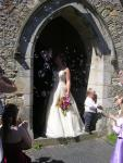The happy couple outside the church