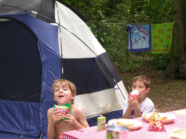 The boys at the campsite